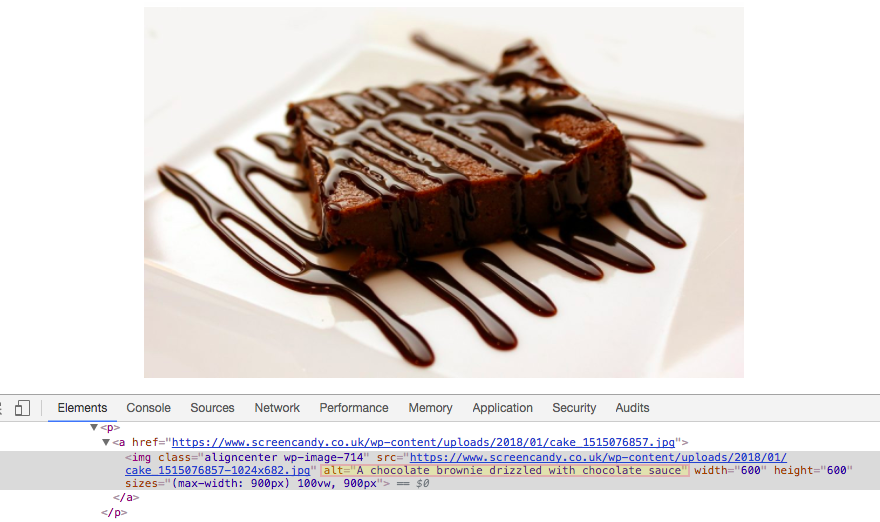 Source code highlighting alt text below an image of a chocolate brownie drizzled with sauce